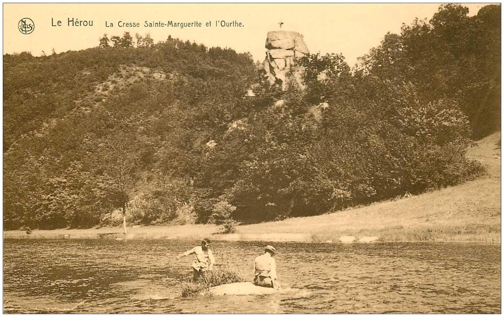 carte postale ancienne Luxembourg. LE HEROU. Cresse Sainte Marguerite et Ourthe animation