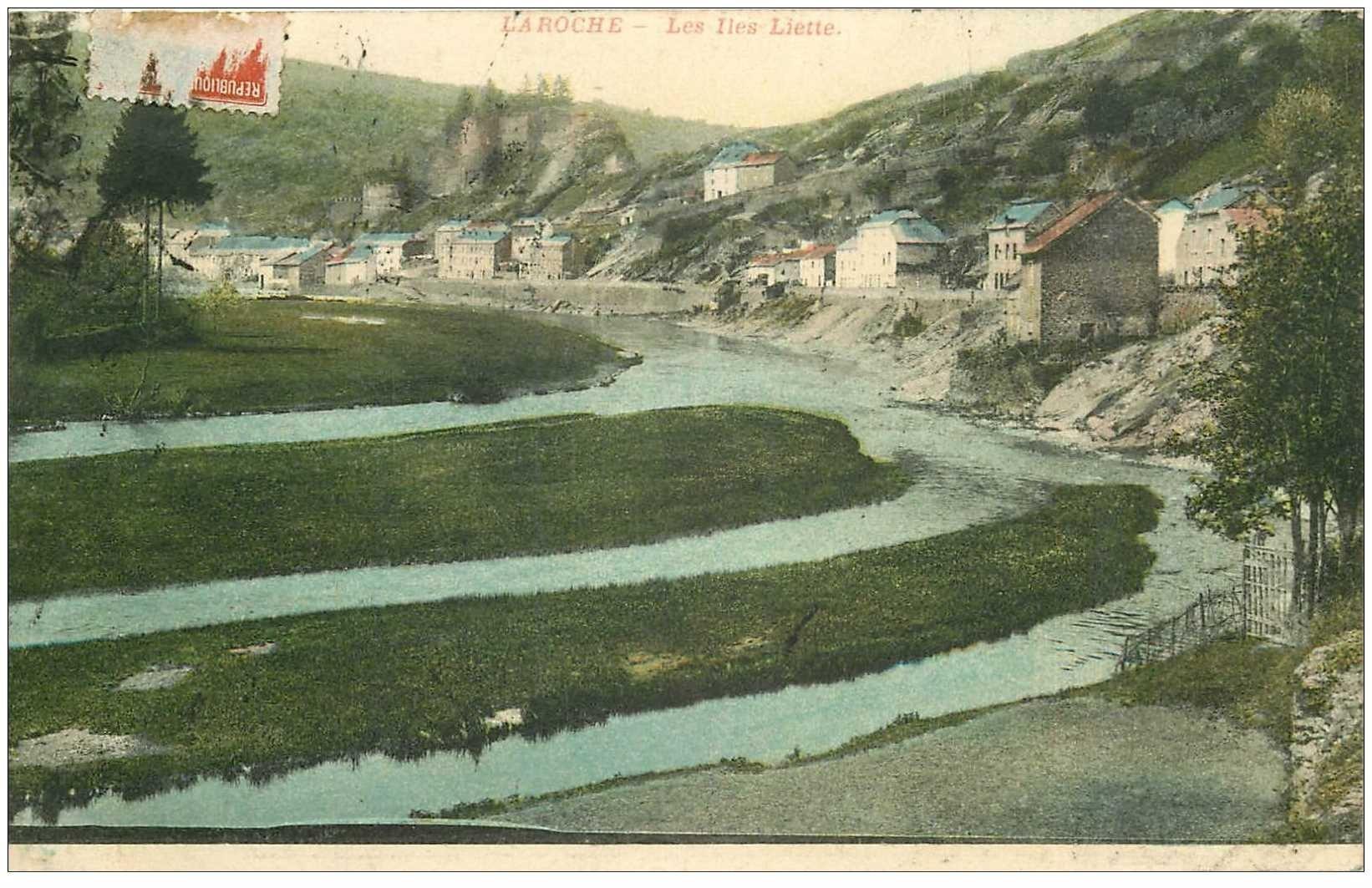 carte postale ancienne LUXEMBOURG. Les Iles Liette. Demi timbre 1910
