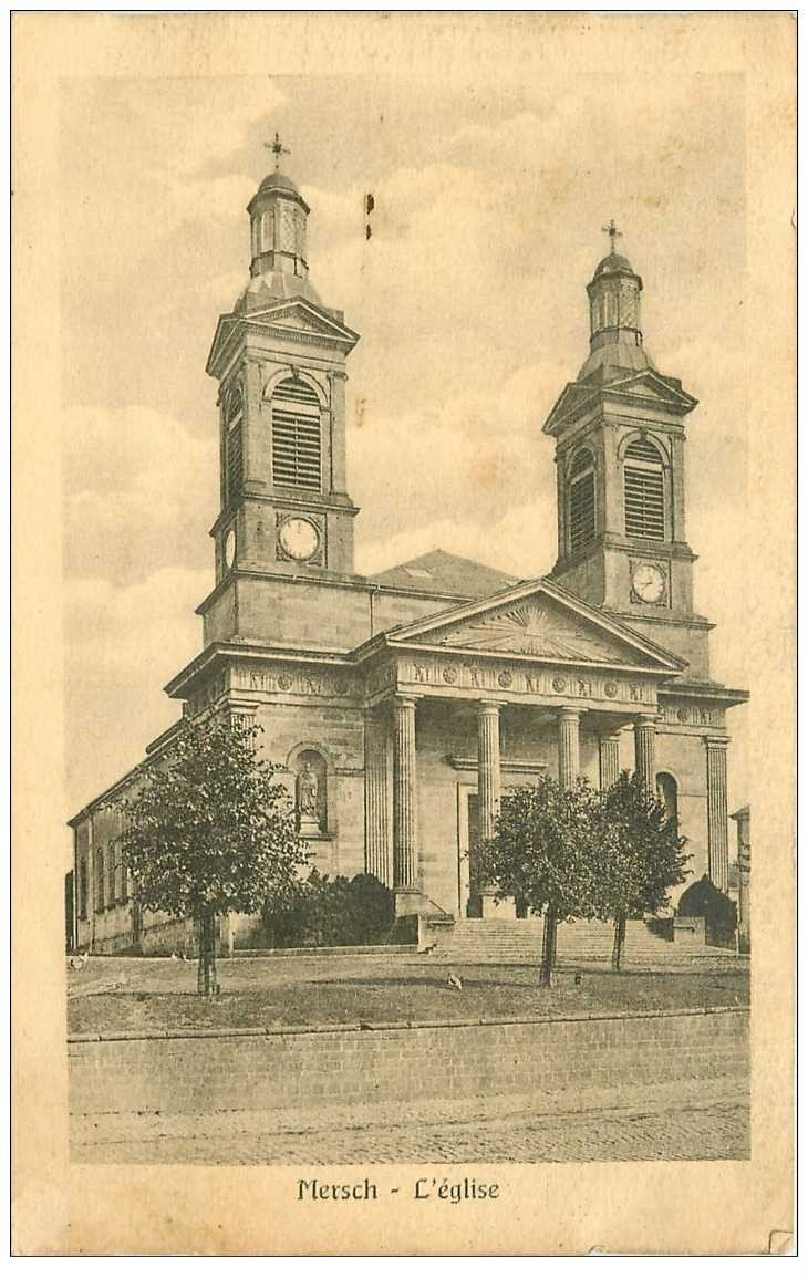 carte postale ancienne LUXEMBOURG. Mersch. L'Eglise 1927 timbre absent