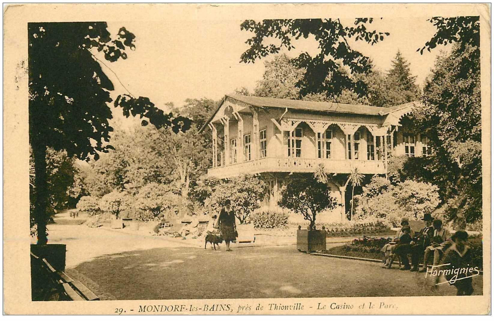 carte postale ancienne Luxembourg. MONDORF LES BAINS. Casino et Parc 1935