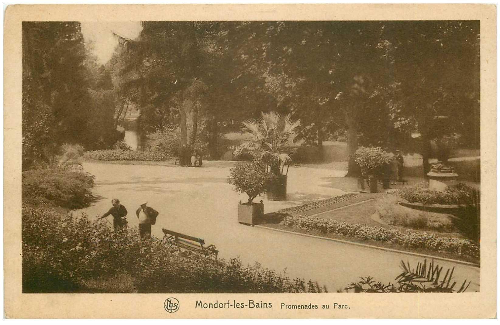 carte postale ancienne Luxembourg. MONDORF-LES-BAINS. Promenades au Parc 1933