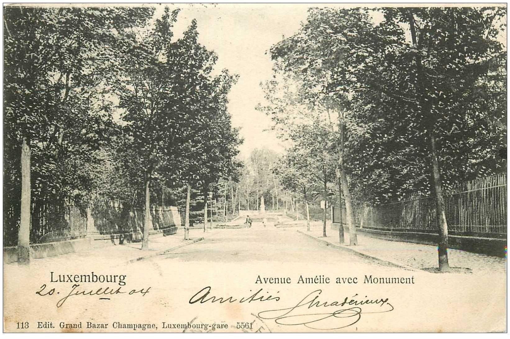 carte postale ancienne Luxembourg. Monument Avenue Amélie 1904