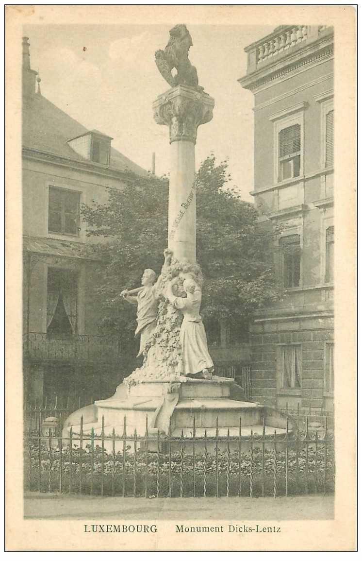 carte postale ancienne LUXEMBOURG. Monument Dicks Lentz 1923