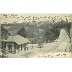 carte postale ancienne Luxembourg. Passerelle 1906 animation