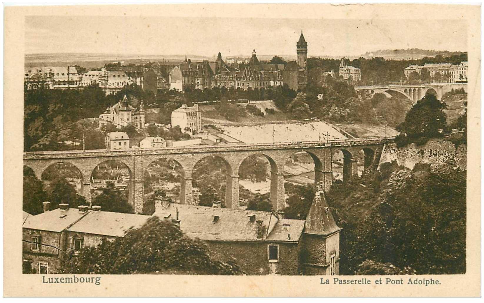 carte postale ancienne LUXEMBOURG. Passerelle et Pont Adolphe