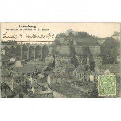 carte postale ancienne Luxembourg. Passerelle et Rochers du Saint-Esprit 1910