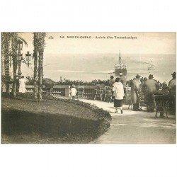 carte postale ancienne MONACO MONTE CARLO. Arrivée d'un Transatlantique