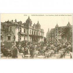 carte postale ancienne MONACO MONTE CARLO. Café et Hôtel de Paris au Casino