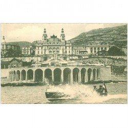 carte postale ancienne MONACO MONTE CARLO. Canot Automobile sur la Mer