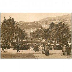 carte postale ancienne MONACO MONTE CARLO. Jardins et Place du Casino
