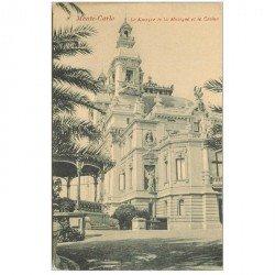 carte postale ancienne MONACO MONTE CARLO. Kiosque de la Musique et Casino