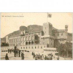 carte postale ancienne MONACO MONTE CARLO. Palais du Prince 1917 grosse animation