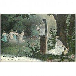carte postale ancienne MONACO MONTE CARLO. Peinture Salle de Jeu. Dans la Prairie par Holdebert
