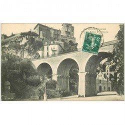 carte postale ancienne MONACO MONTE CARLO. Pont Eglise Ste Dévote 1911