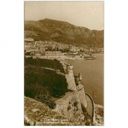 carte postale ancienne MONACO MONTE CARLO. Rocher 1927 Carte photo
