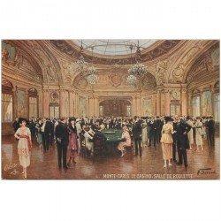 carte postale ancienne MONACO MONTE CARLO. Salle de Roulette au Casino par Béraud. Oilette