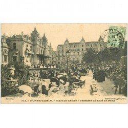 carte postale ancienne MONACO MONTE CARLO. Terrasse Café de Paris 1910 Place Casino