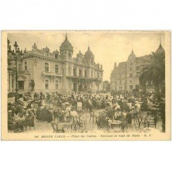 carte postale ancienne MONACO MONTE CARLO. Terrasse Café de Paris Place du Casino