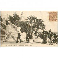 carte postale ancienne MONACO MONTE CARLO. Terrasse Casino beaux timbres Taxe 1921