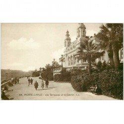 carte postale ancienne MONACO MONTE CARLO. Terrasses Casino. Carte émaillographie
