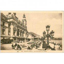 carte postale ancienne MONACO MONTE CARLO. Terrasses du Casino animées
