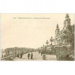 carte postale ancienne MONACO MONTE CARLO. Terrasses et Thétre