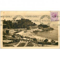 carte postale ancienne MONACO MONTE CARLO. The Beach 1934