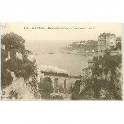 carte postale ancienne MONACO MONTE CARLO. Train sur Pont au Ravin Sainte Dévote et Port
