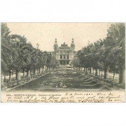 carte postale ancienne MONACO. Casino et Jardins 1902
