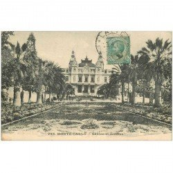 carte postale ancienne MONACO. Casino et Jardins 1914
