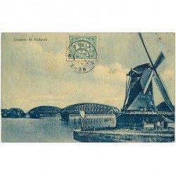 carte postale ancienne PAYS BAS HOLLANDE. Moulin à vent et Pont métallique 1910