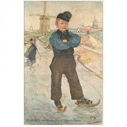carte postale ancienne PAYS BAS. Holland. A Peasant Boy of Veere on Skates 1907 Patineur sur Glace et Moulin à vent par Oilette