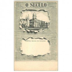 carte postale ancienne LISBAO. Carte montage avec éclatement du Journal O Seculo. Mosteiro dos Jeronymos vers 1900