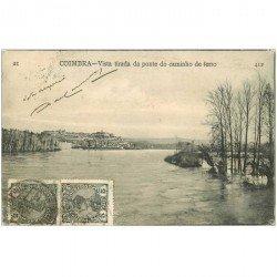carte postale ancienne Portugal. COIMBRA. Vista tirada da ponte do caminho de ferro vers 1900 destinataire au Tonkin