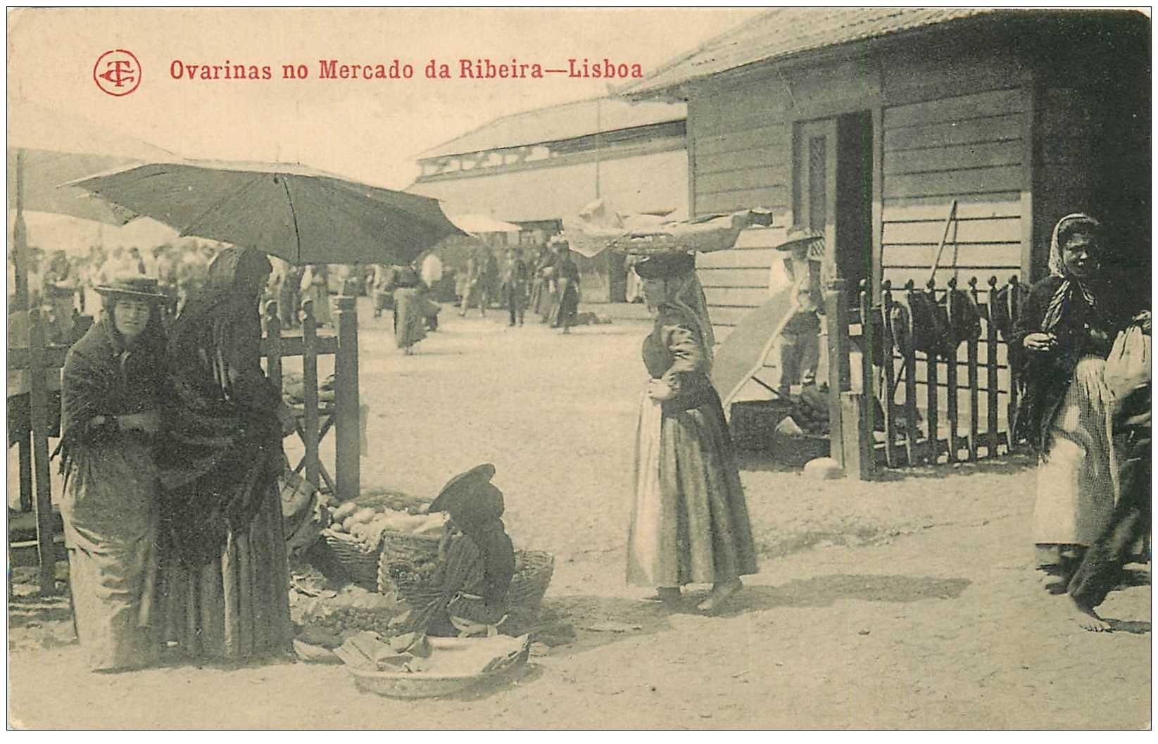 carte postale ancienne PORTUGAL. Ovarinas no Mercado da Ribeira Lisbao. Vendeuse de Légumes au Marché