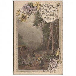 carte postale ancienne ANGLETERRE ENGLAND. Carte de voeux en forme de livret A hearty good Wish