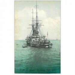 carte postale ancienne ANGLETERRE. H.M.S Queen Battleship