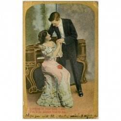 carte postale ancienne ANGLETRRE. La Pianiste. Looking in your eyes I see ...1910
