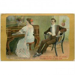carte postale ancienne ANGLETRRE. La Pianiste. When you play for me so sweet... 1911