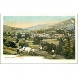 carte postale ancienne ENGLAND. Ambleside from Loughrigg (coins marqés)...
