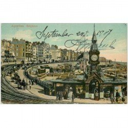 carte postale ancienne ENGLAND. Aquarium Brighton 1907