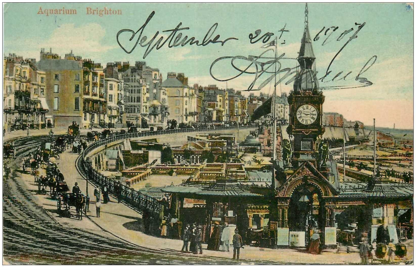 carte postale ancienne ENGLAND. Aquarium Brighton 1907