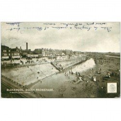 carte postale ancienne ENGLAND. Blackpool South Promenade 1903 timbre taxe