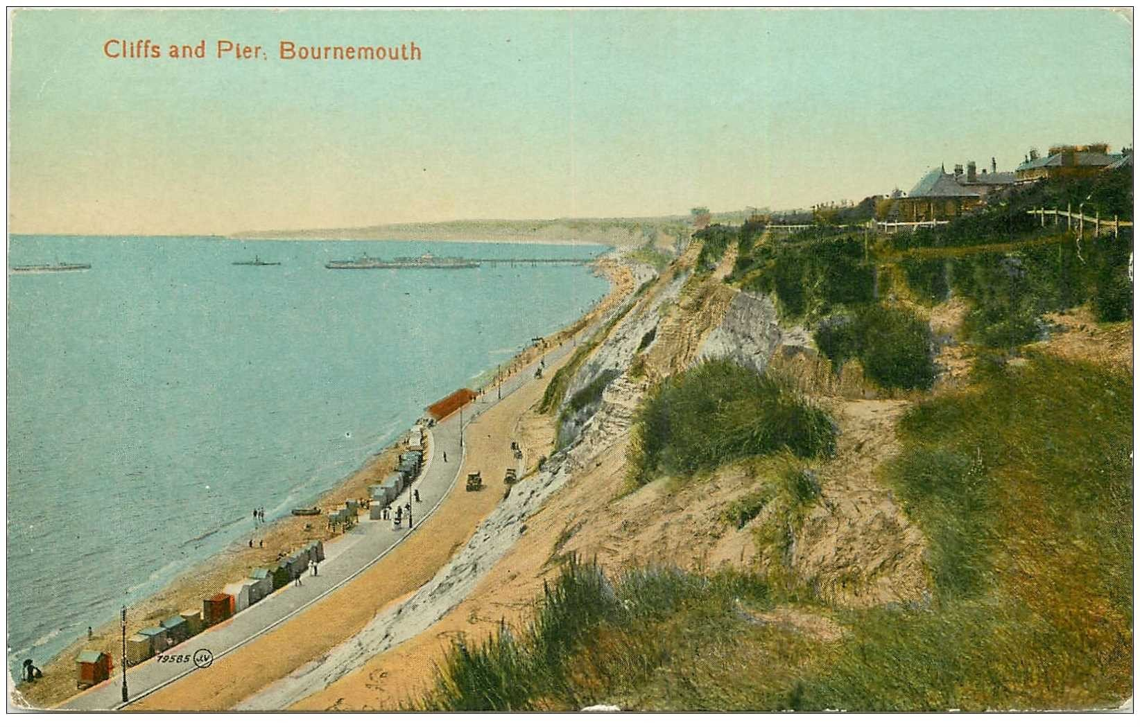 carte postale ancienne ENGLAND. Bournemouth Cliffs and Pier