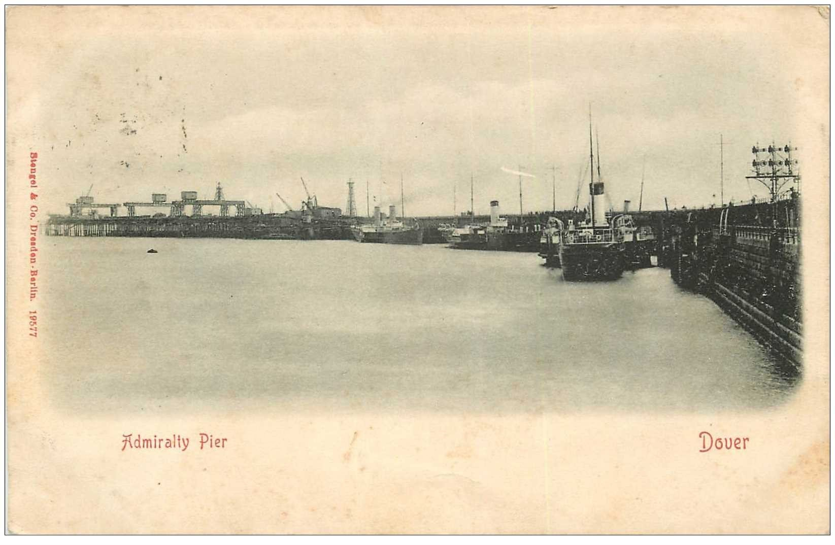 carte postale ancienne ENGLAND. Dover Admiralty Pier 1903