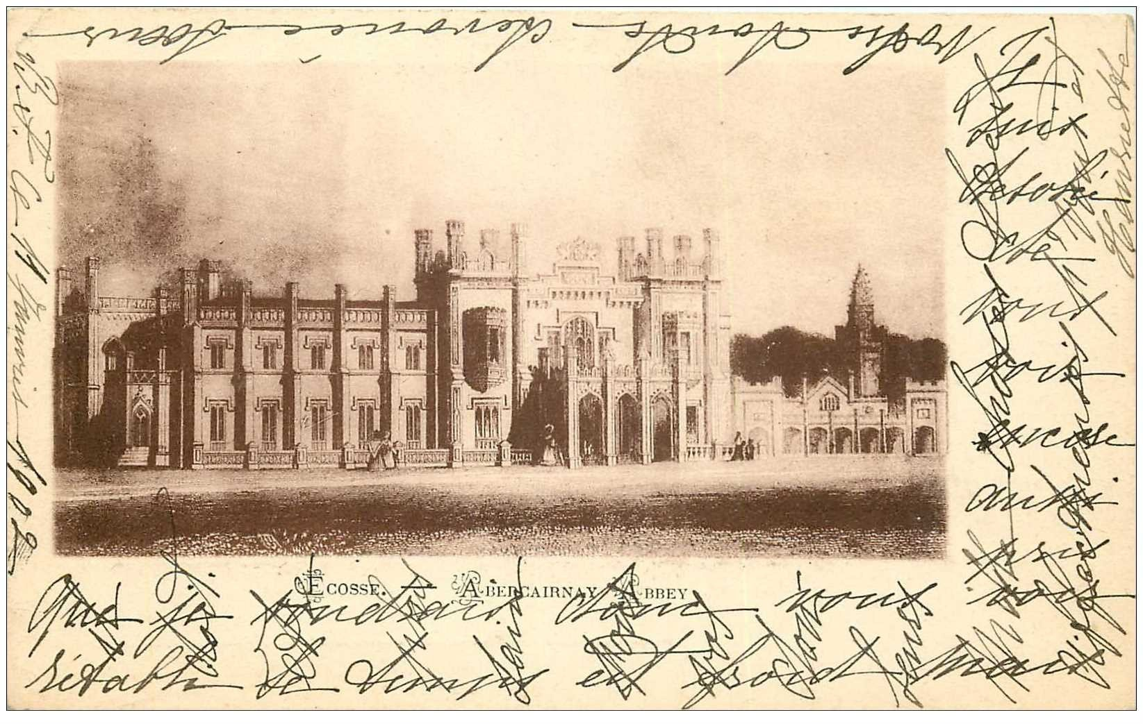 carte postale ancienne ENGLAND. Ecosse Abercairnay Abbey 1902