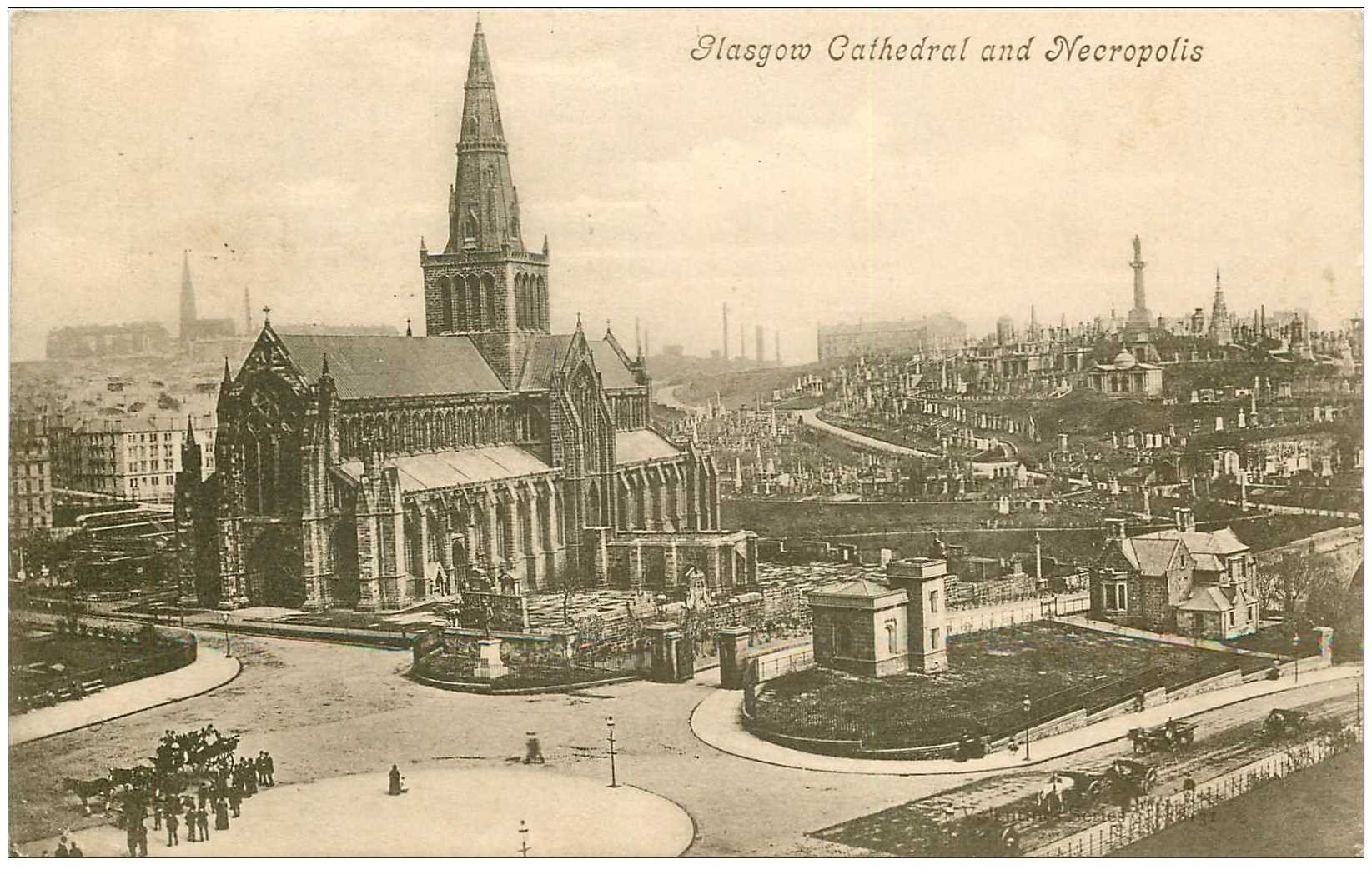 carte postale ancienne ENGLAND. Ecosse Glasgow Cathedral and Necropolis 1906