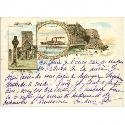 carte postale ancienne ENGLAND. Ecosse Iona Cathedral Fingall's Cave 1902 12 x 8.8 cm