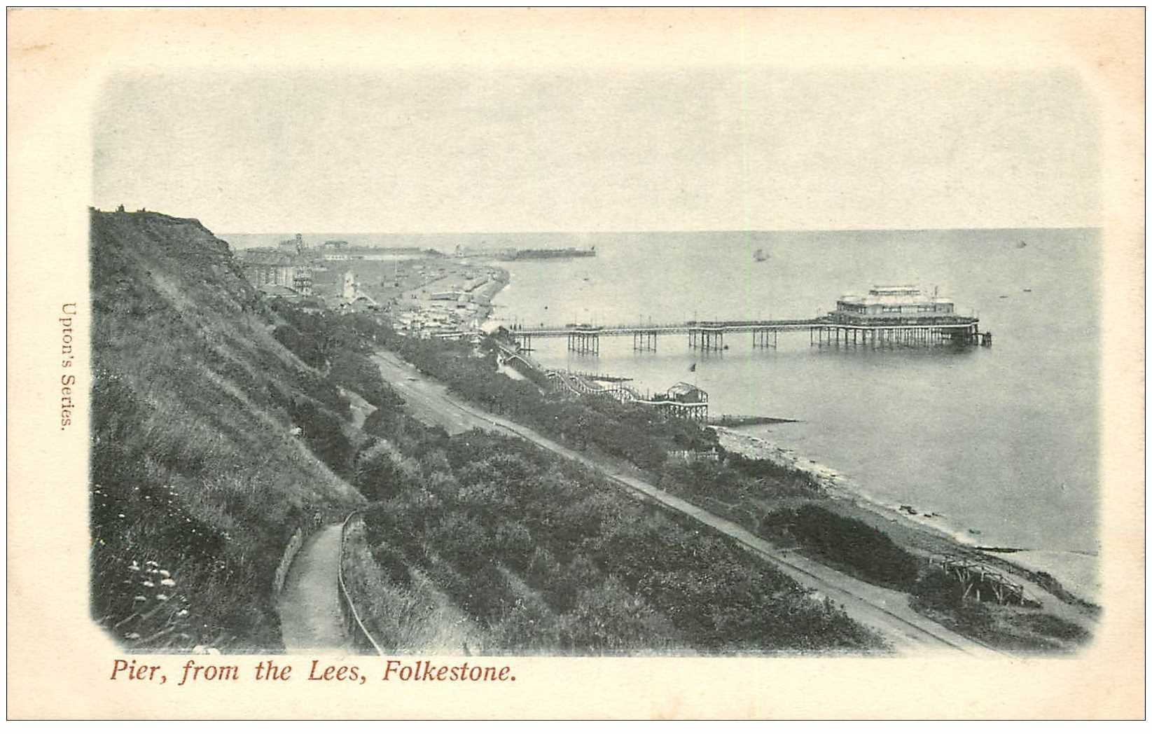 carte postale ancienne ENGLAND. Folkestone Pier from the Lees