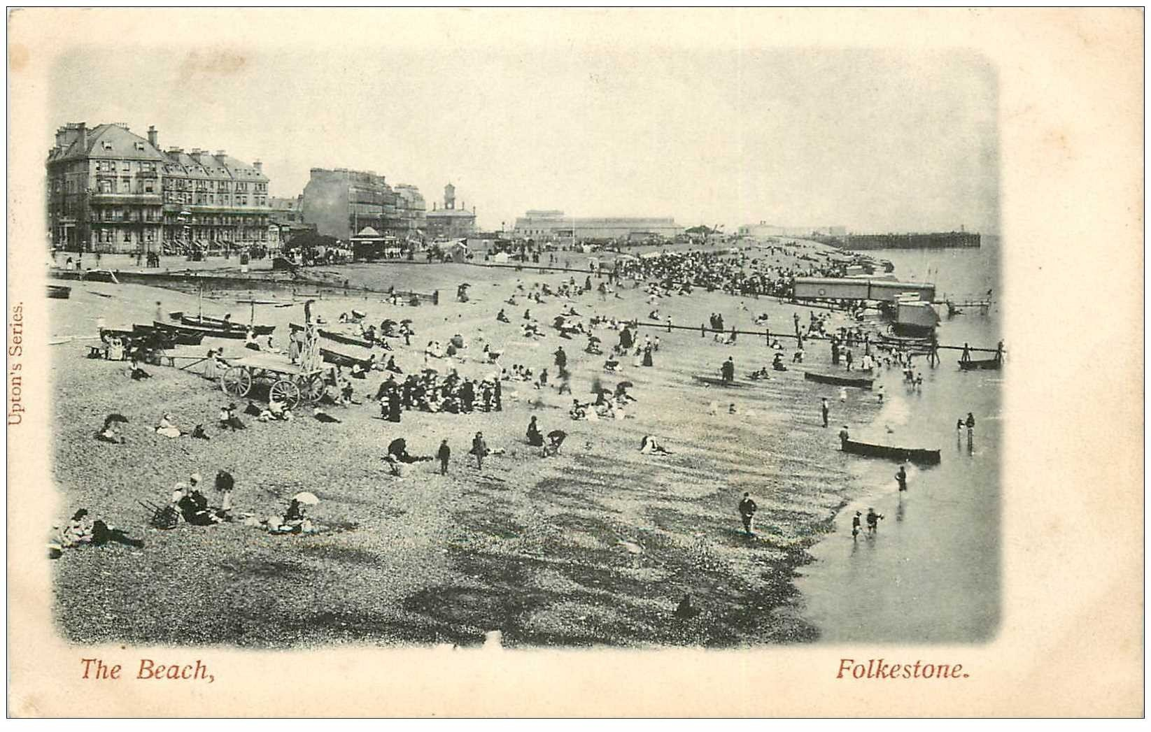 carte postale ancienne ENGLAND. Folkestone the Beach